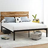 Allewie Queen Size Platform Bed Frame with Wood headboard and Metal Slats/Rustic Country Style Mattress Foundation/Box Spring Optional/Strong Metal Slats Support/Easy Assembly