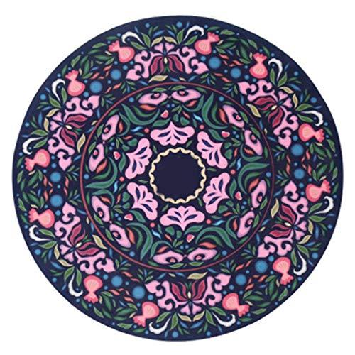 Yogamatte Runde Naturkautschuk, rutschfestes Meditationspad mit Farbdruck (Color : A)