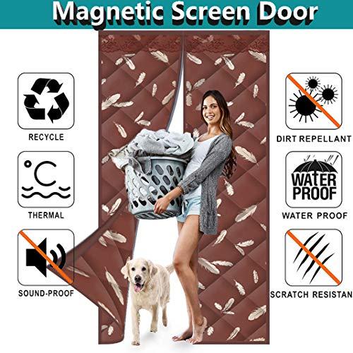Muutos Wärmeschutzvorhang 210x190cm, Selbstansaugend, Magnetische Adsorption, Panel-Isolierung Wasserdicht Wasserdicht, Isolierende Gardine für Türen/Patio - Brown