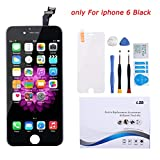 Screen Replacement for iPhone 6 Black LCD Display Touch Screen Digitizer Replacement Full Assembly Set with Free Tools and Professional Glass Screen Protector for iPhone 6 4.7 Inch (6Black)