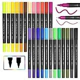 JPARR Pinselstift Set Pinselstiften Aquarellpinsel Brush Pen Set, 24 Farben Pinselstifte mit Zwei Spitzen, Pine Fineliners Filzstifte, Markierungen auf Wasserbasis, Textmarker-Stift für Kalligraphie