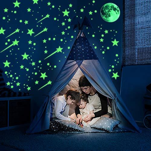 Ezigoo Glow In The Dark Aufkleber-Dekorationsset - 476 Stück (Mond, Sterne, Kometen & Punkte). Leuchtende Wand- und Deckenaufkleber. Ideales Dekorationszubehör Für Kinderschlafzimmer