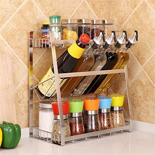 Nfudishpu 304 Edelstahl Küchengewürzregal 3-Tier Küchenarbeitsplatte Speicherorganisator Regal Sauce Lagerregal für Gläser Flasche