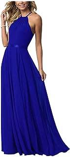 Women's Bridesmaid Dress Long Halter Aline Prom Formal Wedding Party Dress