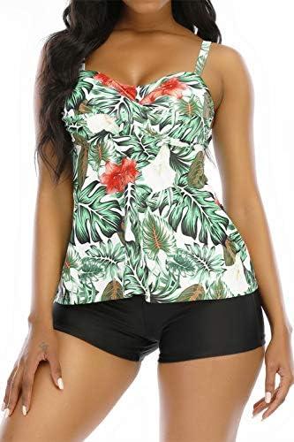 Womens Tankini Swimsuits with Boyshorts Push Up Halter Tankini Top High Waisted Swimwear Tummy product image