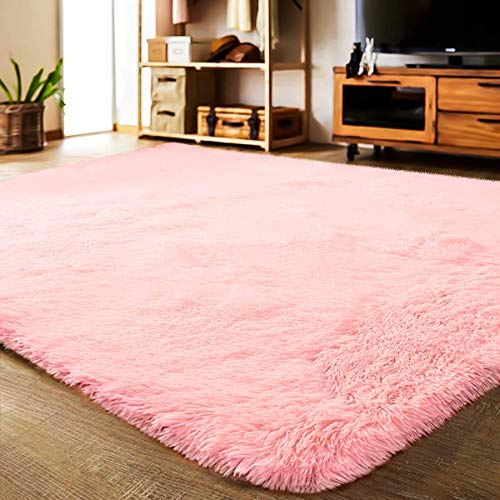 LOCHAS Ultra Soft Indoor Area Rug Shaggy Bedroom Living Room Carpets for Kids Nursery Room, 5.3 x 7.5 Feet Pink