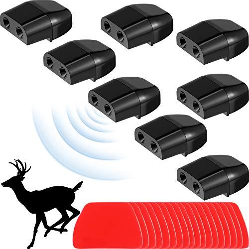 8 Piezas Dispositivos de Silbato de Advertencia de Ciervos Silbato de Alerta de Ciervo de Construcción Dual Repelentes de Animales con 28 Cintas Adhesivas para Coche Camión y Motocicleta