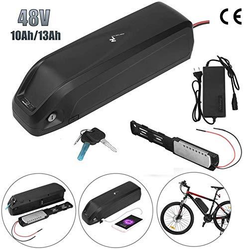 Sinbide E-Bike 48V E-Bike-Akku 10Ah / 13Ah Li-ION E-Bike-Fahrradakku mit Ladegerät und Diebstahlsicherung sowie USB-Anschluss (13Ah)