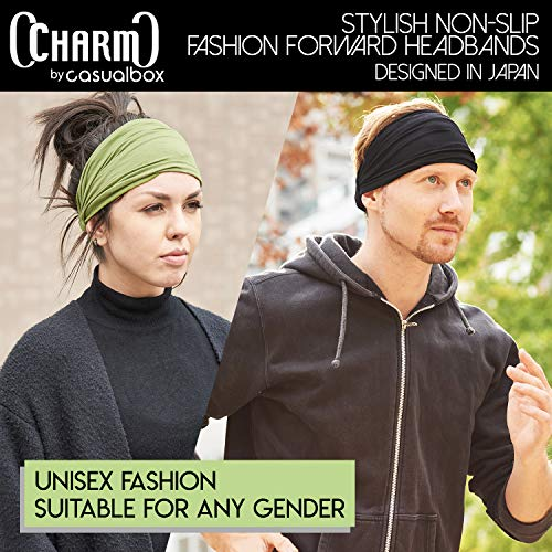 CCHARM Black Japanese Bandana Headbands for Men and Women – Comfortable Head Bands with Elastic Secure Snug Fit Ideal Runners Fitness Sports Football Tennis Stylish Lightweight L