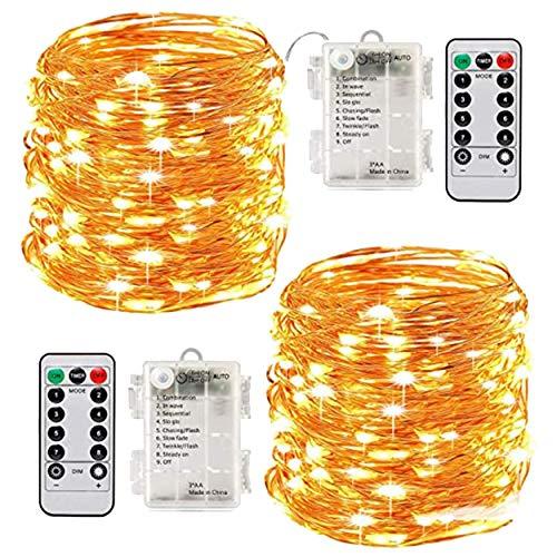Lodenlli Cadena de Luces LED de Alambre de Cobre con Control Remoto de 8 Funciones, 10 Metros, 100 Luces, Caja de batería Impermeable, Luces de Cadena de Alambre de Cobre
