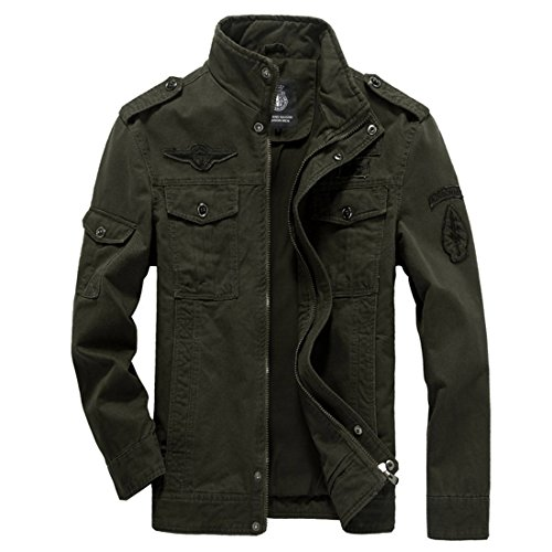 GWELL Herren Jacke Fliegerjacke Übergangsjacke Bomberjacke Militär Piloten Jacket für Winter Herbst Frühling Grün -M (EU M = Tag XL)