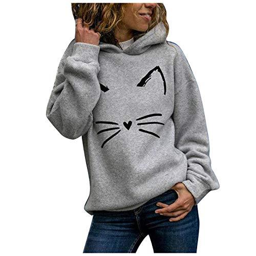 BOIYI Sudaderas con Capucha Mujer, Sudadera para Mujer Hoodie Casual Estampada de Gatos Mascota, Manga Larga Talla Grande Moda Abrigos Deportivos Pullover Tops(Gris,L)