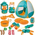 FUN LITTLE TOYS Kids Play Tent, Pop Up Tent with Kids Camping Gear Set, Outdoor Toys Camping Tools Set for Kids, 18 Pieces by FUN LITTLE TOYS