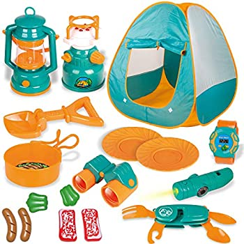FUN LITTLE TOYS Kids Play Tent Pop Up Tent with Kids Camping Gear Set Outdoor Toys Camping Tools Set for Kids 18 Pieces
