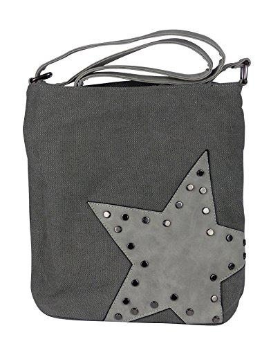 yourlifeyourstyle Canvas Tasche aufgenähter Stern mit Nieten - Damen Mädchen Teenager Umhängetasche - Maße ohne Schulterriemen 27 x 30 cm (grau)