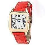 Women's Genuine Leather Band Elegant Square Quartz Watch (Red Band Watch)