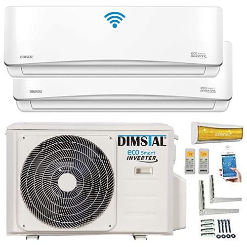 A++/A++ Duo-Split WiFi/WLAN Steuerung Golden-Fin 3,5 + 3,5 kW 12000+12000 BTU MultiSplit Klimaanlage INVERTER Klimagerät mit zwei Inneneinheiten 2 Innengeräten und Heizung