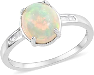 Welo Opal Diamond Baguette Promise Ring 925 Sterling Silver Platinum Plated Jewelry Ct 0.1