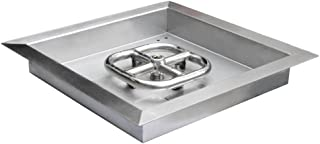 onlyfire Square Stainless Steel Drop-in Fire Pit Burner Ring and Pan Assembly,12-Inch