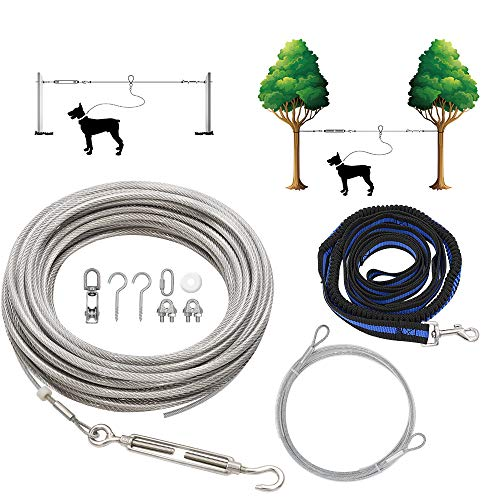Tie-Out Leinen für Hunde,30m Hundeleine für den Hof, Trolley Läufer Kabel für große Hunde bis zu 120kg für Camping, Outdoor, mit 2.5m Nylon Bungee Läufer, Kabelschleife zum Schutz von Bäumen