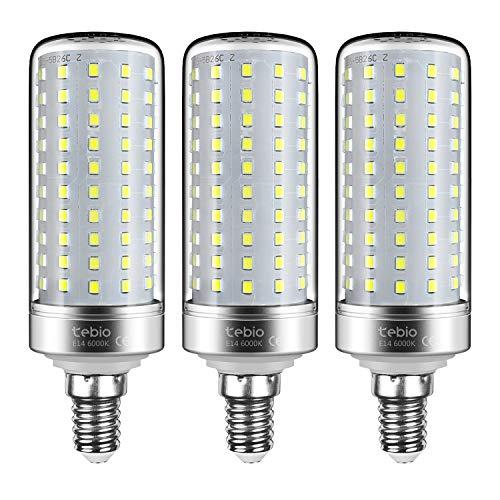 Tebio LED Argento Mais lampadine E14 25W Small Edison Screw Equivalente a 200W 2500LM Non Dimmerabile 6000K Bianco Freddo Lampadine a candela, 3pezzi