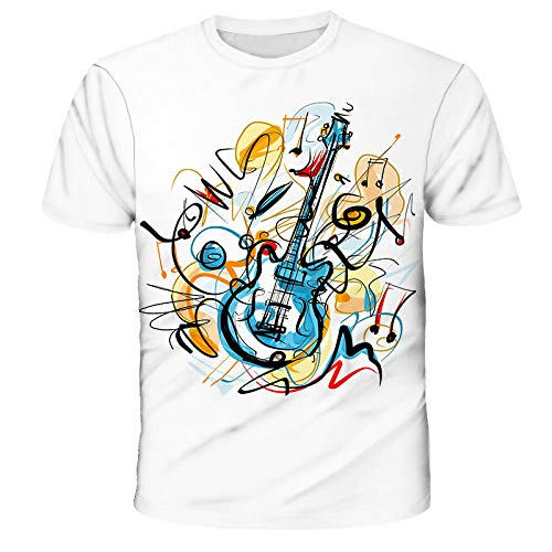 Camiseta Verano Impresión Digital 3D Notas Musicales Camisa Suelta De Manga Corta para Hombres Y Mujeres