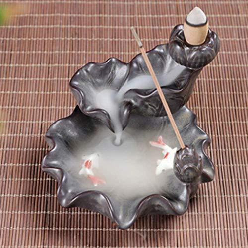Farbiger Fisch Räucherstäbchen Halter mit 10PCs Rückfluss Räucherkegel, Asien Keramik Räucherstäbchenhalter Rückfluss Räuchergefäß