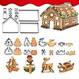 18 Piezas Moldes para Galletas Acero Inoxidable Forma Cutter para Tartas Accesorio de Cocina Galletas Hornear Navidad Halloween Cumpleaños Infantiles