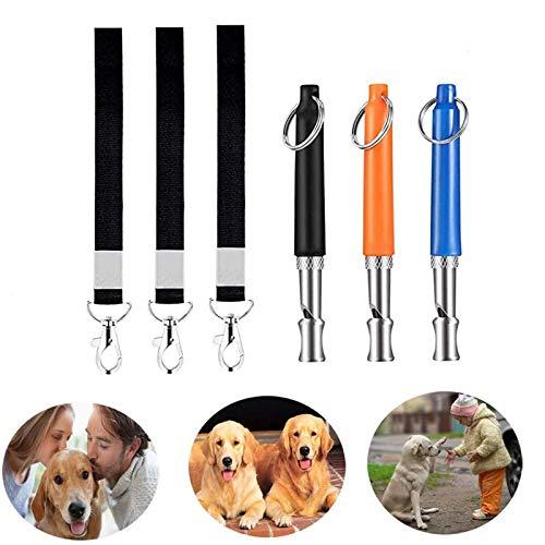 Wuudi Hunde Pfeife, 3 Stück Profi hundepfeife, Hundepfeife mit Pfeifenband, Trainingpfeife für Hundetraining, mit Schlüsselband, Einstellbarer Frequenz