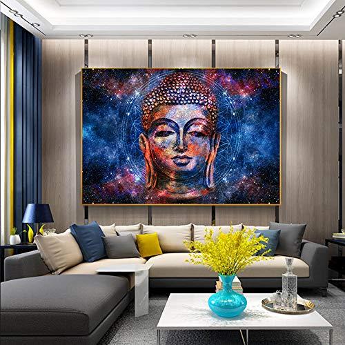 KWzEQ Pintura de Arte de Cara de Buda Colorido Abstracto sobre Lienzo para Carteles de Budismo e impresión de imágenes Modernas para Sala de Estar 60X90cmPintura sin Marco