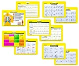 EKG 5 Card Set Common Cardiac Rythms Lead Placement Telemetry Cards for Nurses EMT's Paramedics Medical Students 5 Card Set Double Sided Perfect for Scrub Pockets or ID Badge Addition
