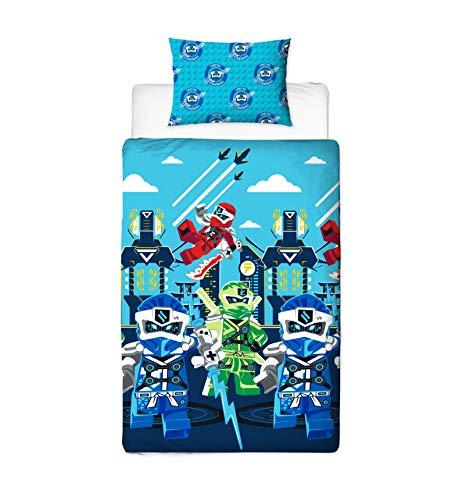 LEGO Ninjago Lightning-Bettbezug für Einzelbett, mit Allen Ihren Lieblings-Ninjas, offizielles Lizenzprodukt, wendbar, zweiseitiges Design, blau, Single Duvet
