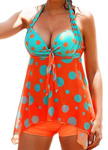 INSTINNCT Damen Retro Push Up Gepolsterter Bauchweg Figurumspielender Tankini Set mit Bügel Raffung Röckchen Effekt Oberteil Hotpants Orange XL