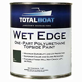 TotalBoat Wet Edge Marine Topside Paint for Boats Fiberglass and Wood  Sea Green Quart
