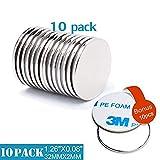 GREMAG 10 Stück Selbstklebende Neodym Magnete, Starke N52 Runder Scheibe Magnet mit 3M Marken-Klebeband - 32mmX2mm