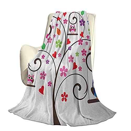 Owls - Manta súper Suave para decoración de árboles con Flores y búhos columpiándose con Curvas líneas Ornamentales, diseño lúdico, artístico, Duradero, sofá Cama de Viaje, sofá de 80 x 60