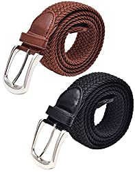 Pegaso Womens Stretchable Braided Elastic Belt, Free Size(Black and Camel)-Pack of 2