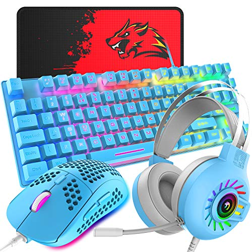 4-in-1 Gaming Keyboard Mouse Combo ,88 Keys Compact Rainbow Backlit Mechanical Feel Keyboard,Lightweight Gaming Mouse with Honeycomb Shell,3.5mm Gaming Stereo Headset for PC Laptop Computer