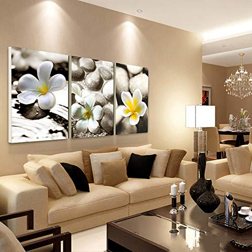 XCSMWJA Canvas Prints Painting Pebbles Flowers 3 Piece Oil Art Decorative Home Decoration Wall Pictures For Living Room Print In Canvas No Frame 40x60cmx3pcs
