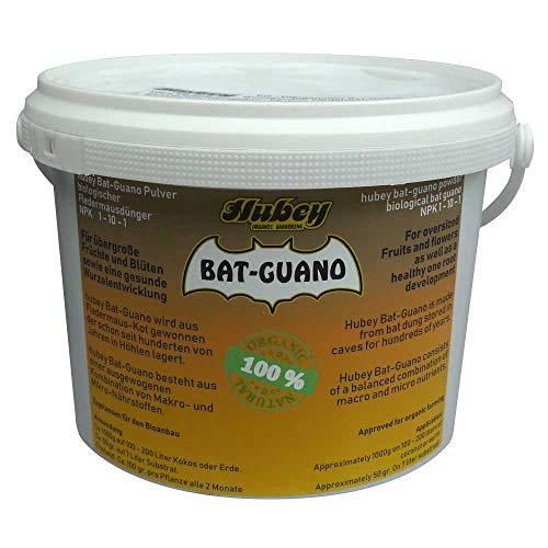 Hubey Bat Guano Dünger (2kg) I Fledermaus Guano für Garten- u. Zimmerpflanzen I Bio Pflanzendünger für große Früchte u. Blüten