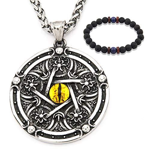 Gungneer Wiccan Pentagram Necklace Stainless Steel Pendant Keel Chain Protection Pentacle Jewelry for Men Women