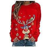 Zilosconcy Sudadera Navidad Mujer Jersey Navideño Feo Sudaderas Navideñas Mujer Divertido Pullover Navidad Patrón de Astas Ugly Jerseys Navideños Chica Talla Grande Sueter Anchas-201116