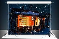 Kate 1.5x2.2m マイクロファイバー 冬の夜のキャビンの背景 空スノーフレーク木造住宅装飾背景 カスタマイズされたスタジオ小道具 シームレスな背景布