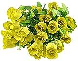 Home-X Ramo de rosas artificiales, 36 rosas amarillas, rosas para ramos de novia, centros de mesa de boda, hogar, oficina, fiestas, decoración de boda y boda, 58 cm de largo