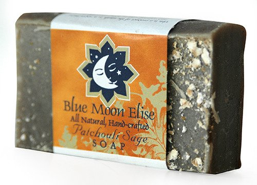 Blue Moon Elise Patchouli Sage All Natural Bar Soap, Scented with Premium Patchouli Essential Oils, Made with Organic Ingredients, Handmade in the USA, Moisturizing and Therapeutic for Face/Body, For Sensitive Skin, For Men and Women