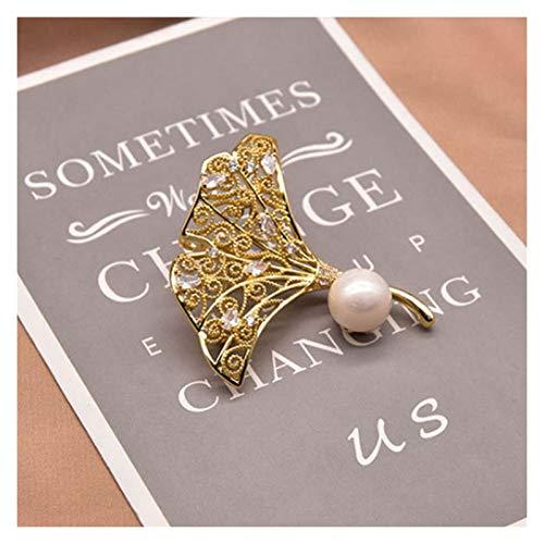 LLUA Spilla di Perle barocche di Perle barocche d'Acqua Dolce Naturale Originale per la Donna Regalo di Compleanno Ginkgo Foglia Gioielli di Moda 1025 (Color : White, Size : H6cm)
