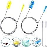 4 Pieces Aquarium Filter Brush Stainless Flexible...