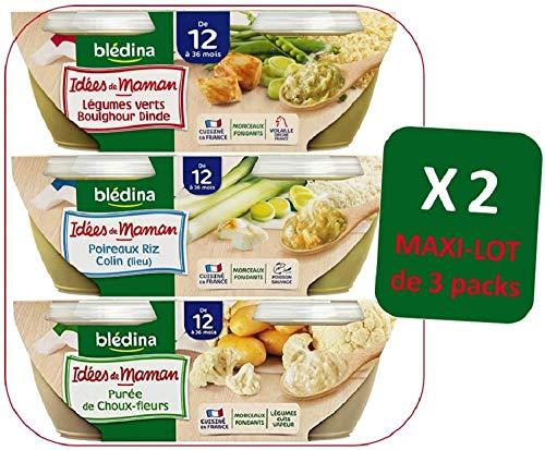 Blédina Bols Idées de Maman dès 12 Mois – 2 Maxi-Lots de 3 Packs = 12 Bols Idées de Mamans =  4 Légumes Verts Boulghour Dinde / 4 Poireaux Riz Colin (lieu) / 4 Purée de Choux-Fleurs