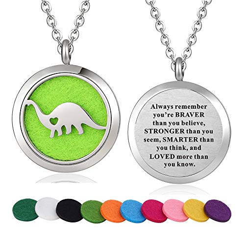 WPFdesign Stainless Steel Diplodocus Dinosaur Aroma Therapy Aromatherapy Essential Oil Diffuser Necklace Locket Pendant (Style 35)