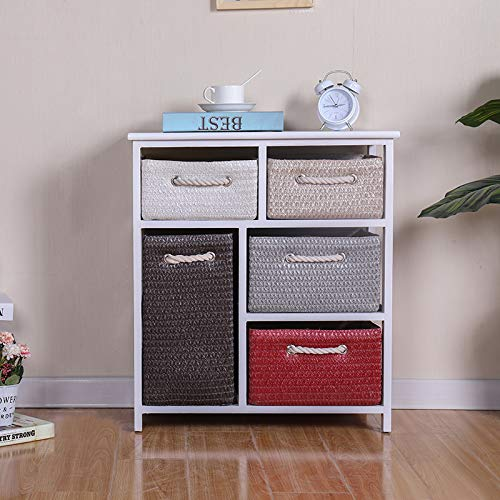 Ruication Large Chest of Drawer Bedside Table Storage Cabinets 5 Drawer Wicker Woven Baskets Organiser Country Style Home Office Bedroom Side Cupboard Unit for Bedroom Living Room Bathroom Hallway
